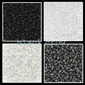 Rocailles zwart-grijs-wit maat 11